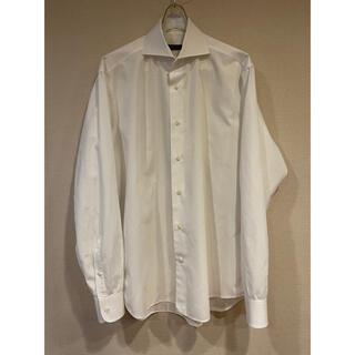 バジーレ BASILE ドレスシャツ 41 イタリア製 白 格子柄(シャツ)