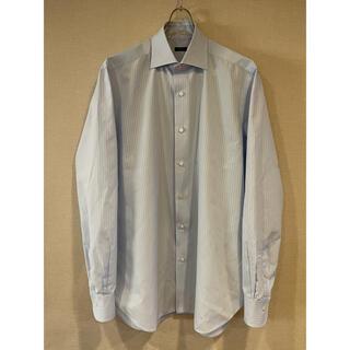 バルバ ドレスシャツ 首42 ブルー シャドーストライプ 着心地最高 やや難あり(シャツ)