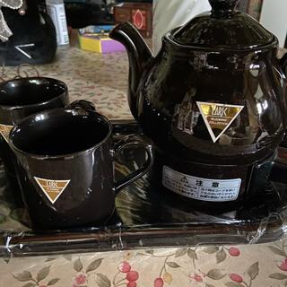 電気ポット レトロ 新品未使用 せともの コーヒーカップ付き