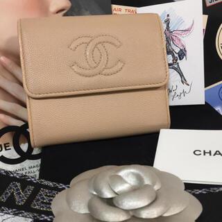 CHANEL - 美品☆CHANEL デカココキャビアスキン コンパクト財布