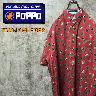 トミーヒルフィガー(TOMMY HILFIGER)のトミーヒルフィガー☆チェック柄エンブレム柄半袖総柄シャツ 90s(シャツ)