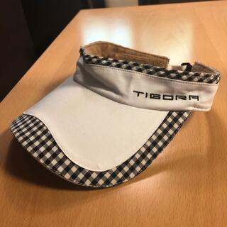 TIGORA - TIGORA ゴルフ サンバイザー ブロックチェック 白 黒 美品 モノトーン
