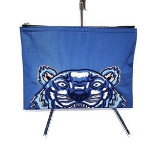 ケンゾー(KENZO)のケンゾー美品  ブルー×レッド ナイロン(クラッチバッグ)