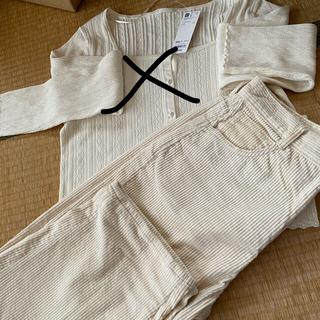 ジーユー(GU)の新品未使用 GU二枚セットカットソーとパンツ XXL(Tシャツ(長袖/七分))
