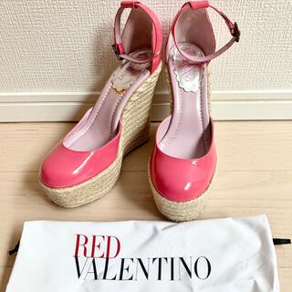 レッドヴァレンティノ(RED VALENTINO)の値下✨レッドヴァレンチノ❤️ウエッジヒールサンダルピンクパテント(サンダル)