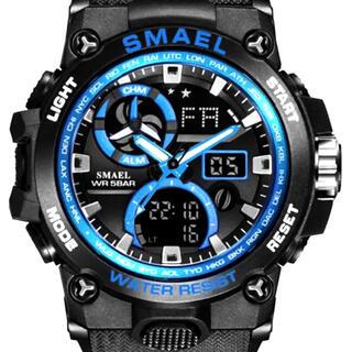 新品 SMAEL ビックフェイスデュアルウオッチ ブラック&ブルー メンズ腕時計