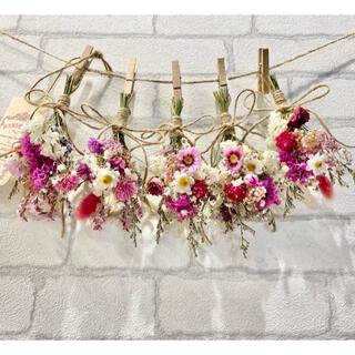 ドライフラワー スワッグ ガーランド❁265ピンク 薔薇 かすみ草 白 花束♪