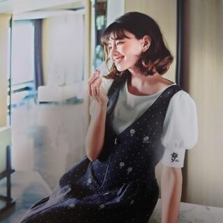 M'S GRACY - エムズグレイシー☆新品☆ドットフラワーデニム風ティアードジャンパースカート 40