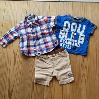 ダブルビー(DOUBLE.B)の【やや使用感あり】70 DOUBLE.B 男の子用 3点セット(Tシャツ)