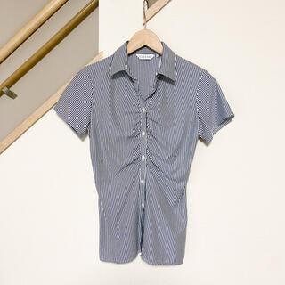 シマムラ(しまむら)のストライプシャツ size 9R(シャツ/ブラウス(半袖/袖なし))