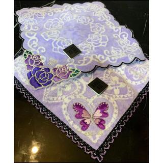 ANNA SUI - アナスイ ラメ糸 レース 刺繍 フリル 蝶 薔薇 ローズ タオル ハンカチ
