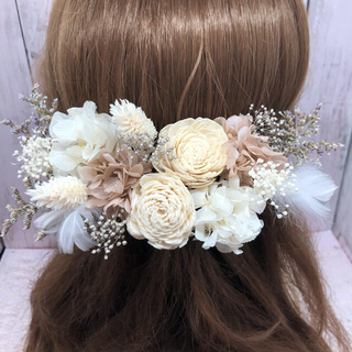 ホワイトベージュ系♡髪飾り ヘッドドレス 結婚式 前撮り 卒業式  袴(ヘッドドレス/ドレス)