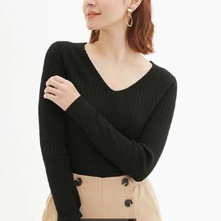 GU - GU ジーユー ワイドリブVネックセーター(長袖)