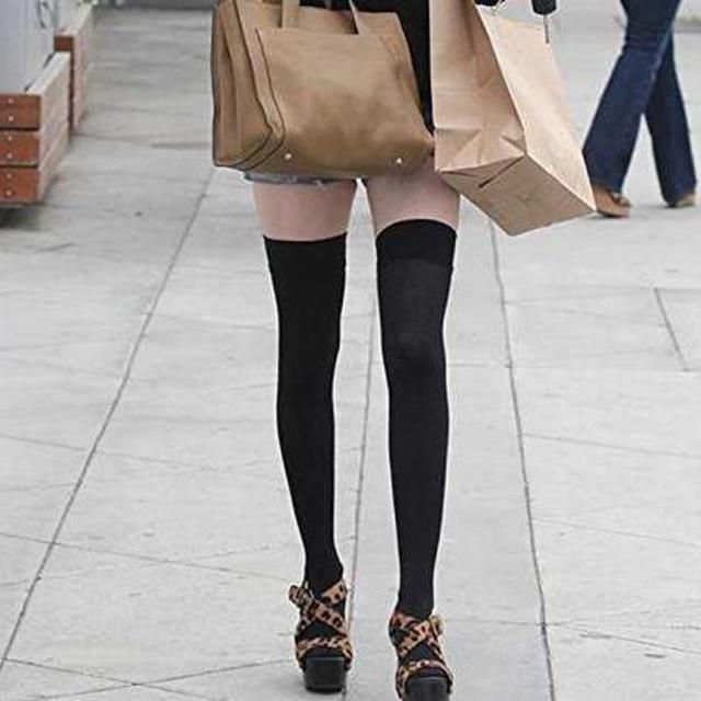 タイツ ニーハイ 黒 ハイスクール メイド コスプレ フリーサイズ レディースのレッグウェア(タイツ/ストッキング)の商品写真