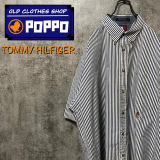 トミーヒルフィガー(TOMMY HILFIGER)のトミーヒルフィガー☆オールド刺繍ロゴ半袖ロンドンストライプシャツ 90s(シャツ)