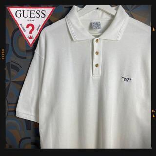 ゲス(GUESS)のゲス 90s GUESS 半袖ポロシャツ 白 ワンポイント USA製 刺繍ロゴ(ポロシャツ)