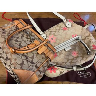 コーチ(COACH)のcoach 2個セット 保存袋付 ハンドバッグ ショルダーバッグ 花柄(ハンドバッグ)