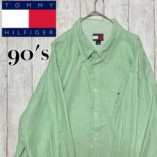 トミーヒルフィガー(TOMMY HILFIGER)の90s TOMMY トミーヒルフィガー BDシャツ ミントグリーン XL(シャツ)