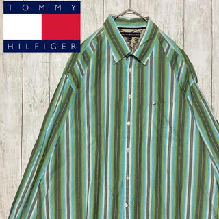 トミーヒルフィガー(TOMMY HILFIGER)のTOMMY トミーヒルフィガー BDシャツ グリーンストライプ 刺繍ロゴ XXL(シャツ)