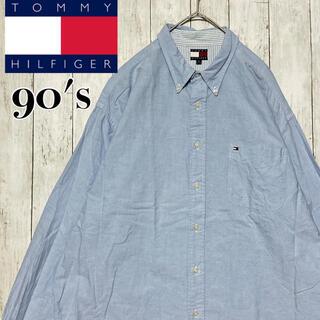 トミーヒルフィガー(TOMMY HILFIGER)の90s TOMMY トミーヒルフィガー BDシャツ 刺繍ロゴ ブルー XL(シャツ)