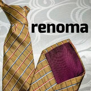 レノマ(RENOMA)のrenoma レノマ ゴールド ストライプ シルク 100%(ネクタイ)