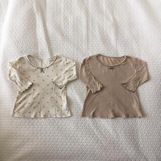 肌着 長袖 8分袖 花柄 たんぽぽ 2枚組 リボン 無地 女の子 キッズ (下着)