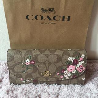 コーチ(COACH)の【定番人気☆】コーチの長財布☆ブラウン×花柄×ピンク 新品 SALE❣️(財布)