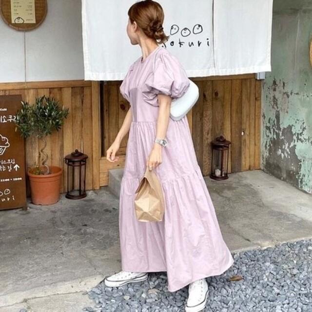ぽわん袖 バックリボン ティアード風 ワンピース レディースのワンピース(ロングワンピース/マキシワンピース)の商品写真
