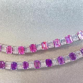 天然 非加熱パパラチアサファイア  紫サファイア ブレスレット任意1点k18 ¥(ブレスレット/バングル)