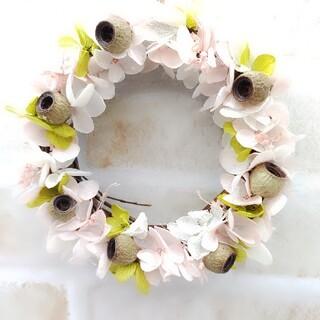 春リース 紫陽花&ユーカリの実 ミニリース ドライフラワー カントリー雑貨(ドライフラワー)