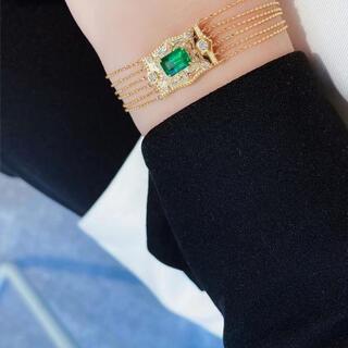 天然 エメラルド  ダイヤ  ブレスレット約1ct k18 ¥(ブレスレット/バングル)