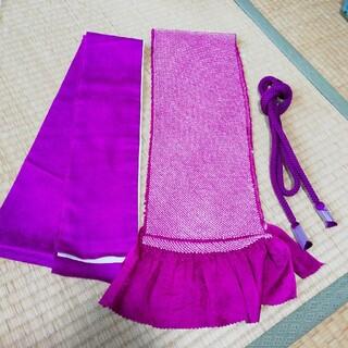 赤紫系 帯揚げ 帯締め 伊達衿セット (振袖)