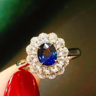天然 ロイヤルブルーサファイア ダイヤ リング0.99ct k18 ¥(リング(指輪))