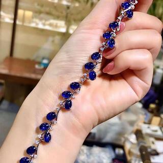 天然 ブルーサファイア ダイヤ ブレスレット約19.27ct k18 ¥(ブレスレット/バングル)
