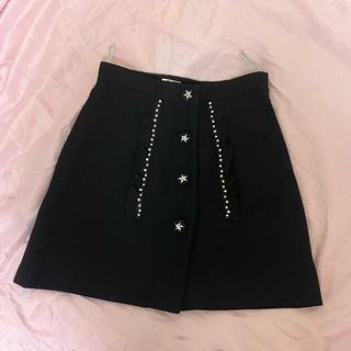 miumiu - ミュウミュウ miumiu ビジュー ブラック スカート フリル スター 黒