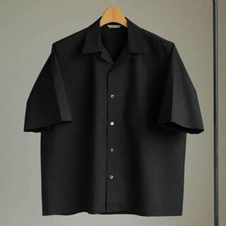 COMOLI - AURALEE 17ss オープンカラー半袖シャツ インクブラック サイズ4