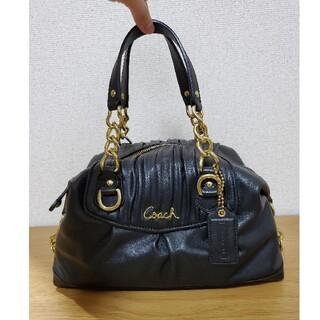 コーチ(COACH)の【美品】コーチ ハンドバッグ ブラック レザー(ハンドバッグ)