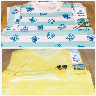 ユニクロ(UNIQLO)のユニクロベビー110 半袖Tシャツ どうぶつの森 ピンクボーダー イエロー(Tシャツ/カットソー)