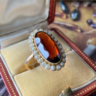 イギリス アンティーク 天然スモーキークォーツ 天然真珠