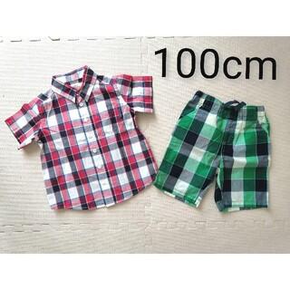 西松屋 - 【新品未使用】100cm 半袖シャツ・ショートパンツ セット
