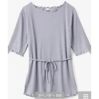 シマムラ(しまむら)のしまむら terawear emu 新作 紐付きメロウT ラベンダー M 新品(Tシャツ(半袖/袖なし))