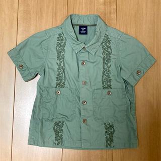 ベビーギャップ(babyGAP)の刺繍カーキシャツ90(ブラウス)