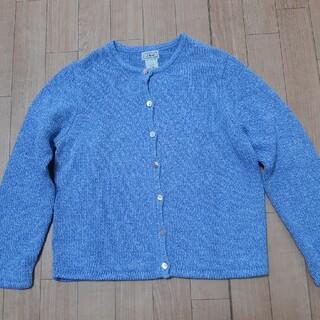 エルエルビーン(L.L.Bean)のLLビーン コットン100% サイズM 美品 Mix糸=白ブルー 羽織用に👍 (カーディガン)