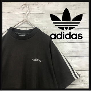 90.adidas ダークブラウン スリーライン刺繍ワンポイントスモールロゴ刺繍