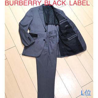 BURBERRY BLACK LABEL - 極美品★バーバリー×シルク混◎極上グレーストライプ春夏スーツ 背抜き 灰A894