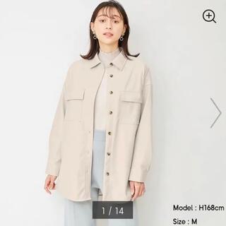 ジーユー(GU)のGUフェイクレザーダブルポケットシャツ(その他)
