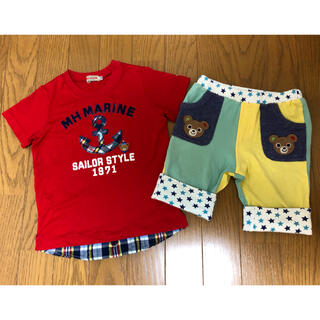 ミキハウス プッチー  マリン 重ね着風半袖Tシャツ(110)、パンツ(100)