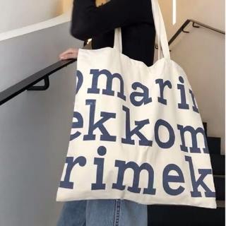 marimekko - マリメッコ ロゴ トートバッグ ネイビー Marimekko 大きめ 大容量
