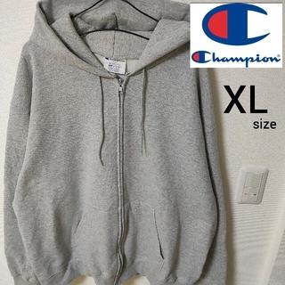 チャンピオン(Champion)の美品 Champion グレー ジップアップパーカー メンズ 裏起毛 XLサイズ(パーカー)