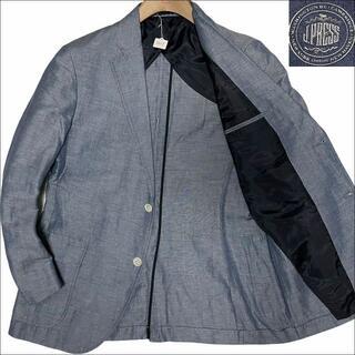 ジェイプレス(J.PRESS)のJ5057 美品 Jプレス  リネン サマー テーラードジャケット 水色 L(テーラードジャケット)